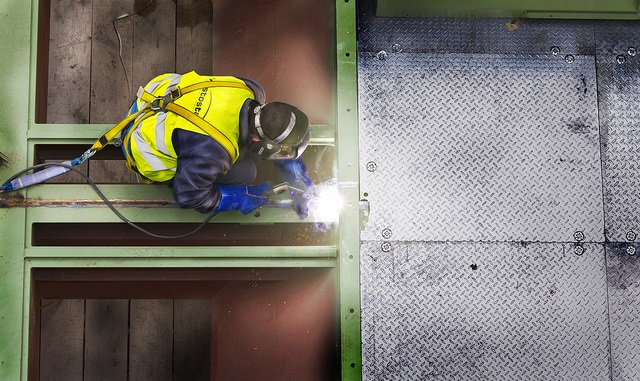 welder welding steel